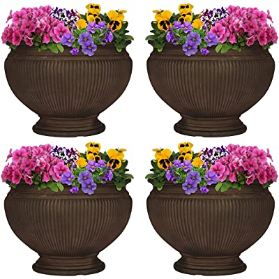 Sunnydaze Elizabeth Ribbed Urn Flower Pot Planter, Outdoor/Indoor Extra-Durable Double-Walled Polyresin, UV-Resistant Rust Finish, Set of 4, 16-Inch Diameter : Garden & Outdoor