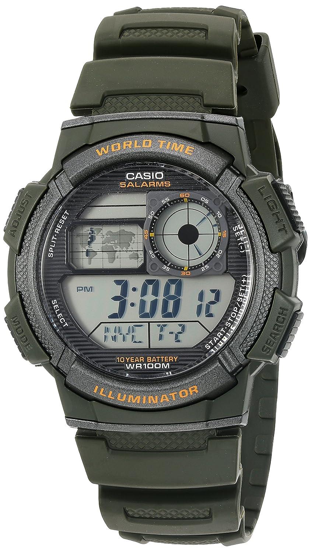 Casio - Reloj de resina de cuarzo para hombre, 10 años de batería, color verde (modelo: AE1000W-3AV): Casio: Amazon.es: Relojes