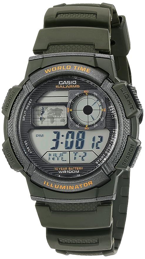 Casio Men's '10-Year Battery' Quartz Resin Watch, Color:Green (Model: AE1000W-3AV)