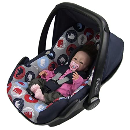 BAMBINIWELT Ersatzbezug für Maxi-Cosi PEBBLE 5-tlg, Bezug für Babyschale, Komplett-Set *NEU* MARINE GRAU ELEFANTEN