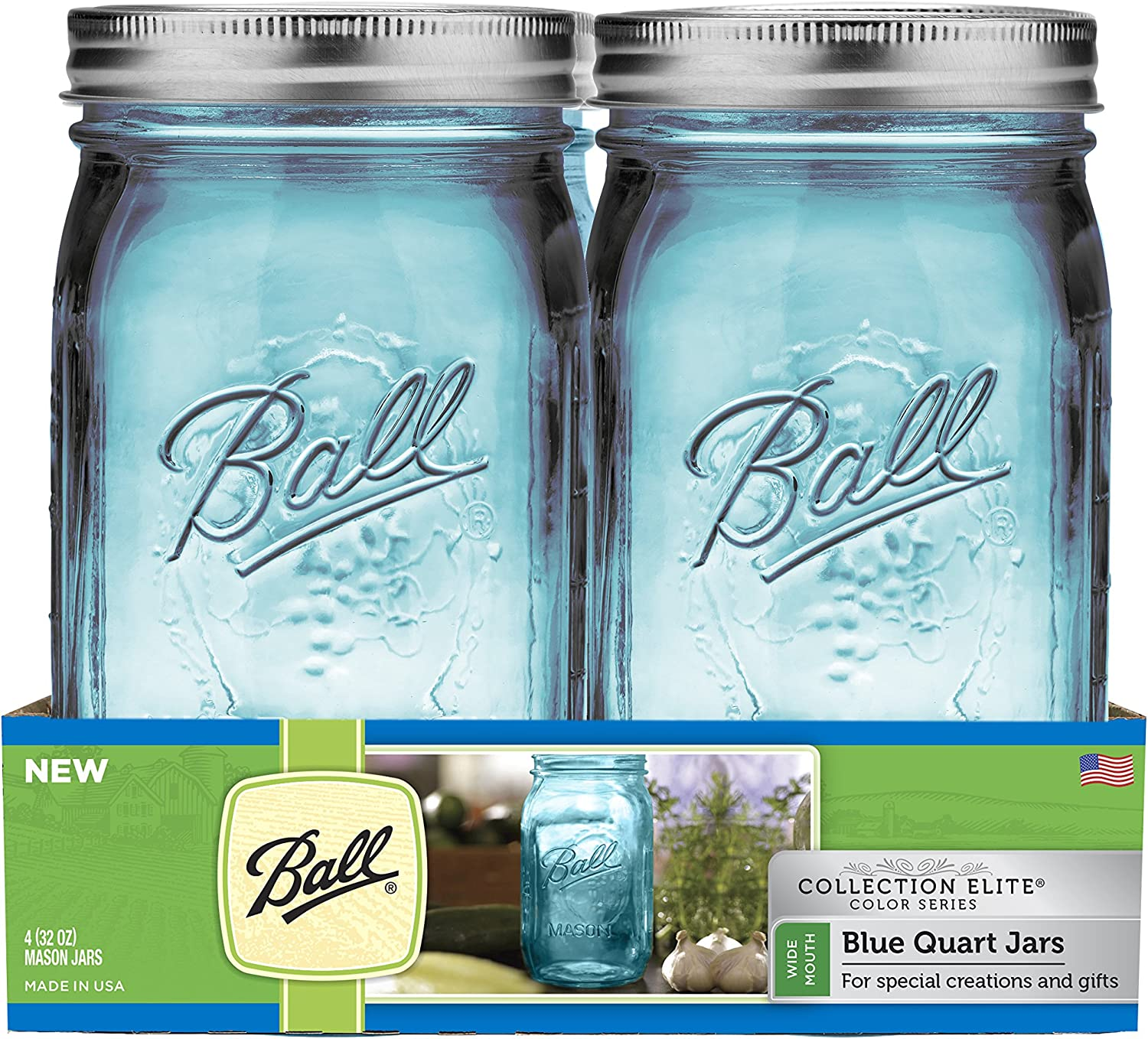 Amazon Com Ball Collection 4 Pack Blue R Wide Mouth Canning Jars 4 Pkg Quart Elite Color Series Wm Kitchen Dining
