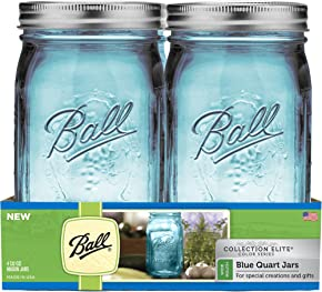 Ball Wide Mouth Elite Collection Quart Jars (4 Pack), Blue