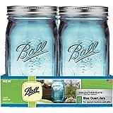 Ball Collection (4 Pack), Blue (R) Wide Mouth Canning Jars 4/pkg-Quart-Elite Color Series, WM