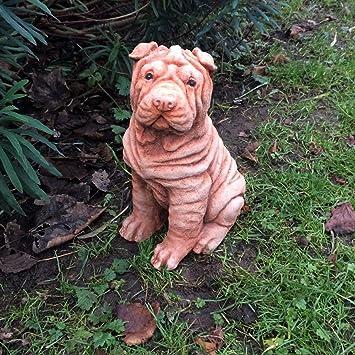 Einzigartige Rot Chinese Sharpei Hund Statue Stein Garten Memorial Ornament  Decor Geschenk