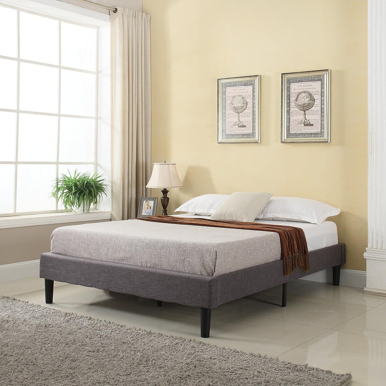 Amazon Modern Grey Linen Fabric Platform Bed with Wooden Slats