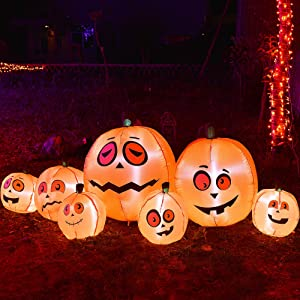 Twinkle Star 8Ft Long Halloween Inflatable Pumpkins Decorations Outdoor Indoor Holiday Blow Up Lighted Pumpkin Halloween Decor, Animated Halloween Yard Prop, Giant Lawn Decorations with LED Lights