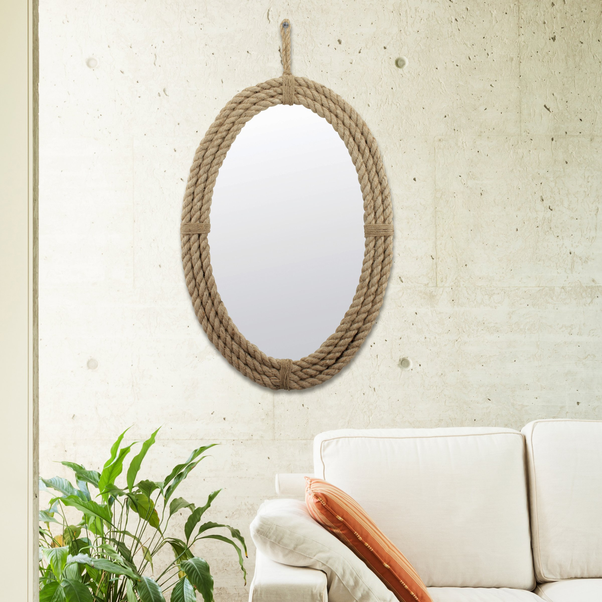 Stonebriar Decorative Oval Rope Mirror with Hanging Loop, Unique Wall Décor by Stonebriar (Image #4)