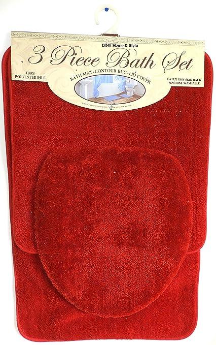 Red Bathroom Rug Set. 3 Piece Bath Rug Set Brick Red Bathroom Mat Contour Rug Lid Cover Non Slip Latex