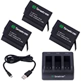 Smatree Batteria (3 pacchetti) con Caricatore a 3 Canali per Gopro HERO 5 Black, HERO 6 Black (compatibile con hero5 firmware v01.50, v01.55, v01.57, v02.00, v02.51,v02.60)