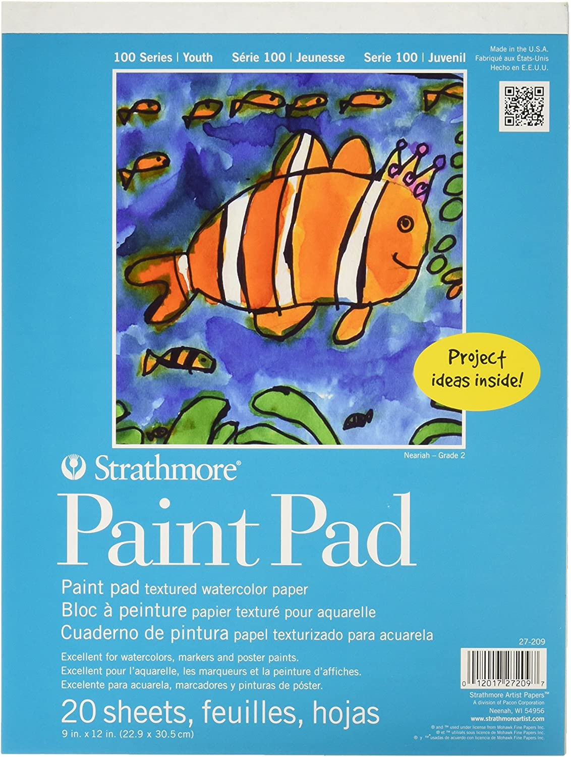"""Strathmore 27-209 100 Series Youth Paint Pad, 9""""x12"""" Tape Bound, 20 Sheets : Drawing Pads And Books : Office Products"""