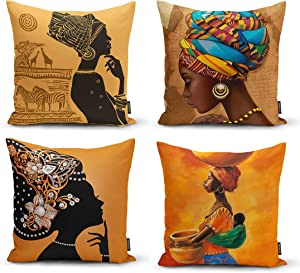 Ysahome Tribal Decor Digital Print Pillow Cover - Black Woman Cushion Cover - African American Girls Throw Pillow Case - Ethnic Ancient Theme Decorative Accent Pillow, 18x18 Inches, Orange (Set of 4)