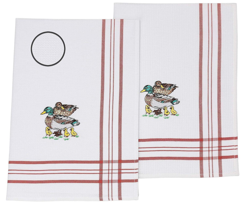 BETZ Lot de 2 torchons de Cuisine en Tissu piqu/é Rouge avec Broderie Canards Taille 50 x 70 cm