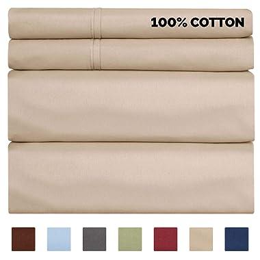 100% Cotton Sheets - Queen Size Cotton Sheets - 400 Thread Count Queen Size Sheets - Long Staple Queen Cotton - 400 TC Queen Sheet Set - Cotton Queen Bed Sheets Set - Pure Cotton - High Thread Count