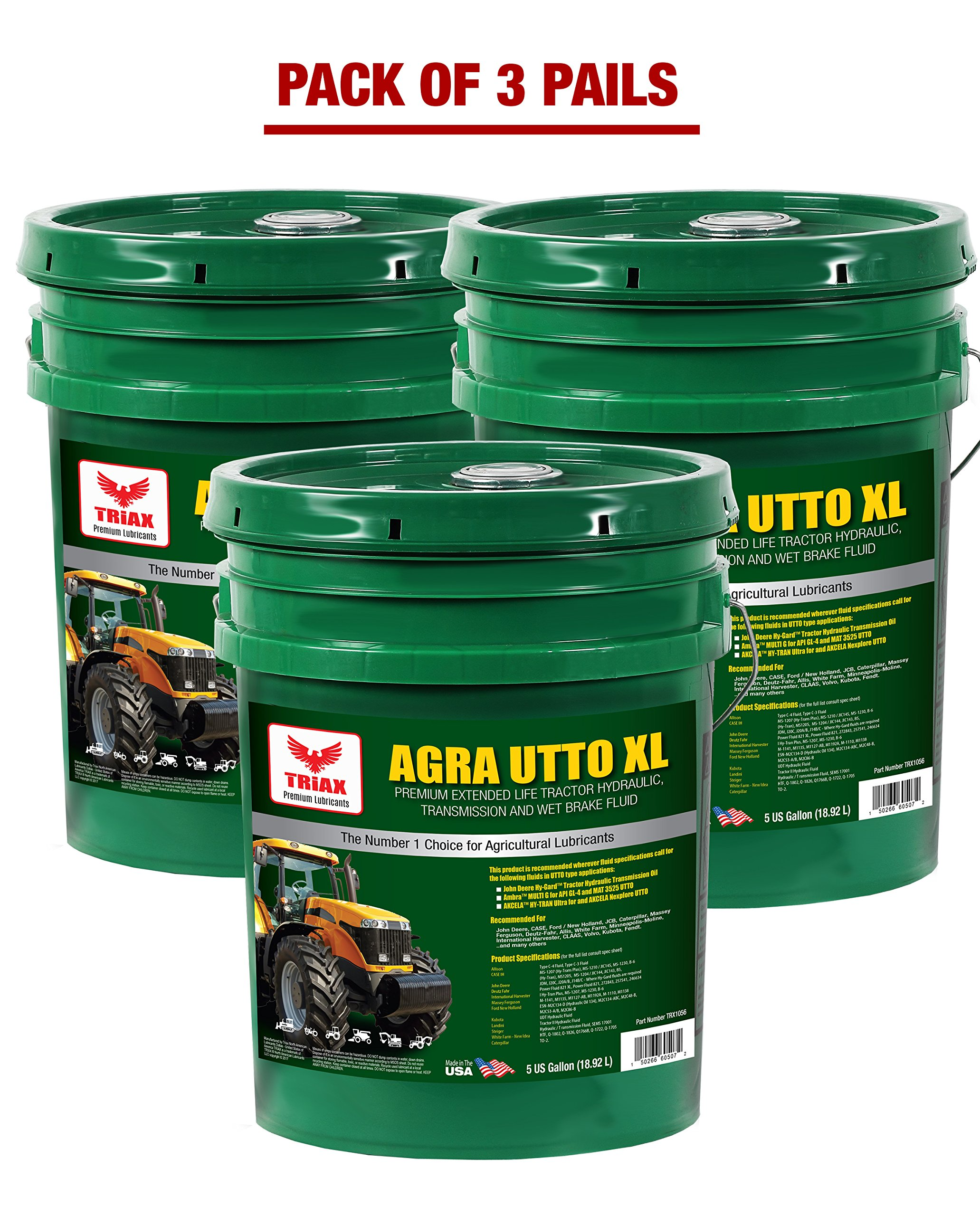 TRIAX AGRA UTTO XL SYNTHETIC BLEND Premium Tractor Hydraulic & Transmission Oil - Extreme Performance - Replaces Most OEM Fluids (3 x 5 GAL PAIL) by Triax