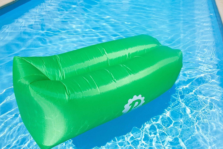 Pevita airPuf - Sofá, Colchón Hinchable. Perfecto Laybag para la Playa, Piscina, Jardín y Camping. Tumbona de Aire en diferentes colores. Lazybag (Verde): Amazon.es: Deportes y aire libre