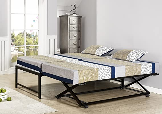 2f6564bb38c1c Amazon.com  Kings Brand Furniture Twin Size Black Metal Platform Bed with Pop  Up Trundle  Home   Kitchen