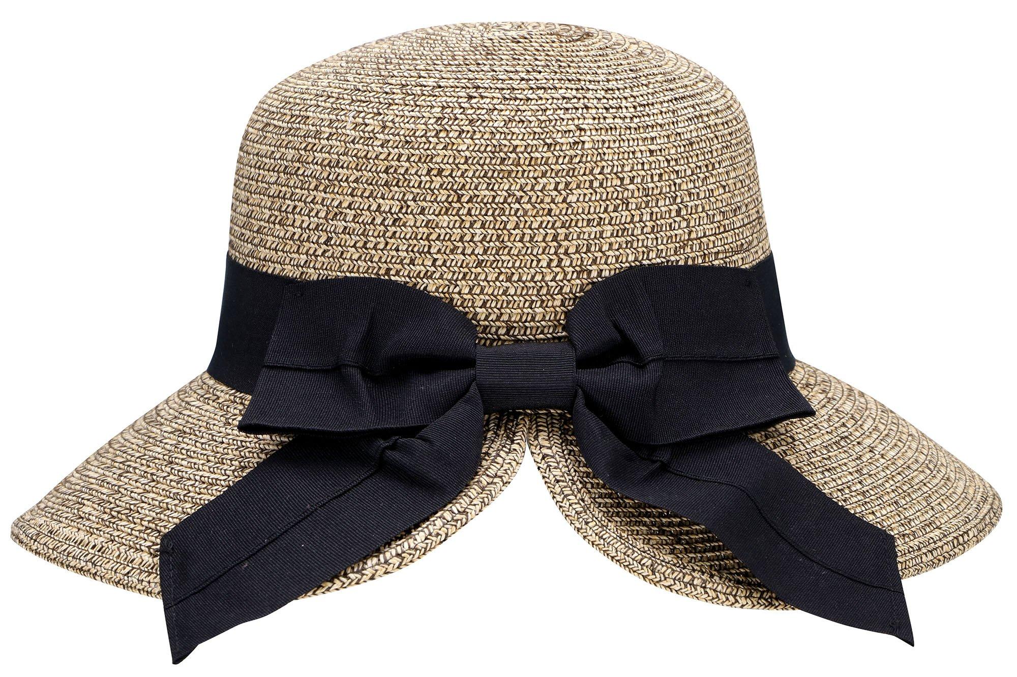 AbbyLexi Women's Vintage Roll Up Sun Visor Straw Hat w/Bow, Beige Da Coffee