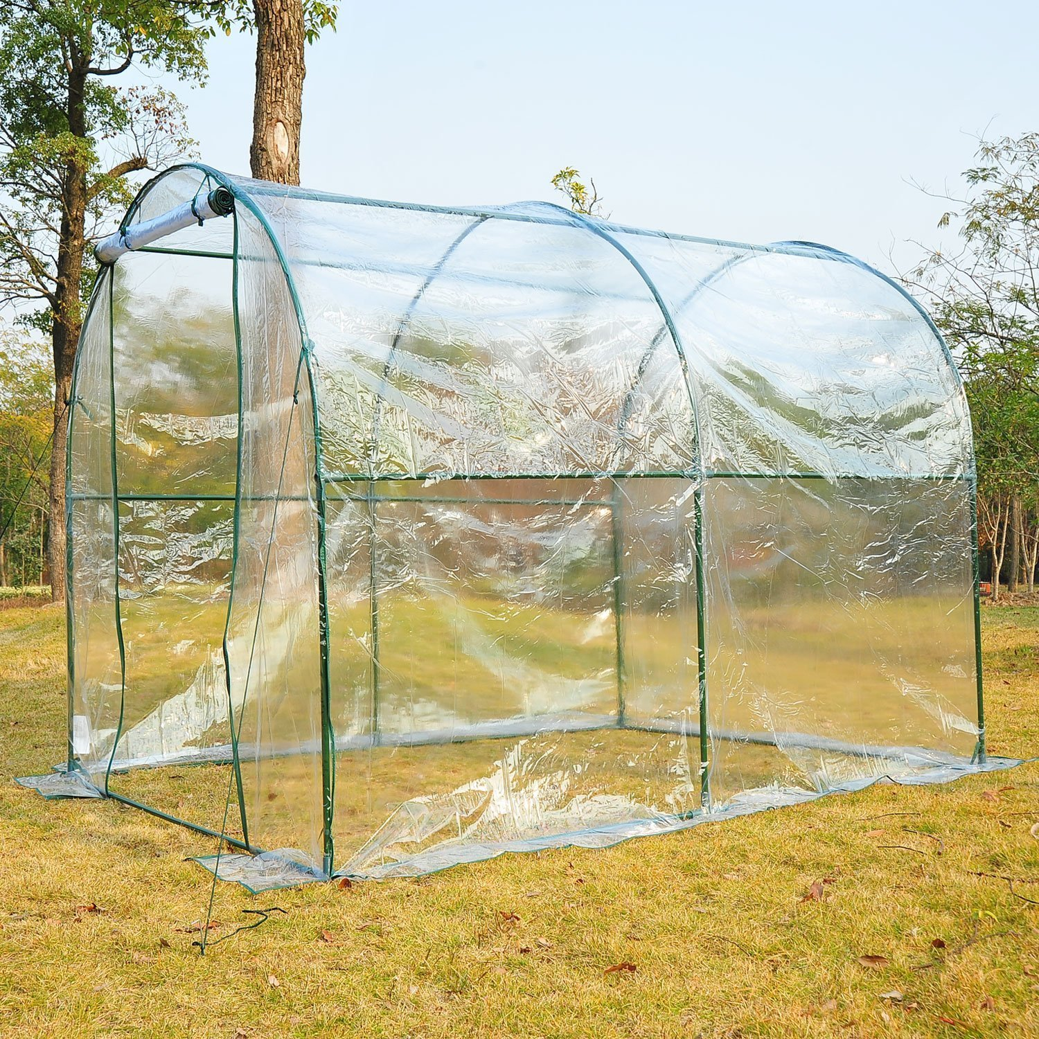 Outsunny Large Steel Frame Walk in Dome PVC Greenhouse - Transparent ...