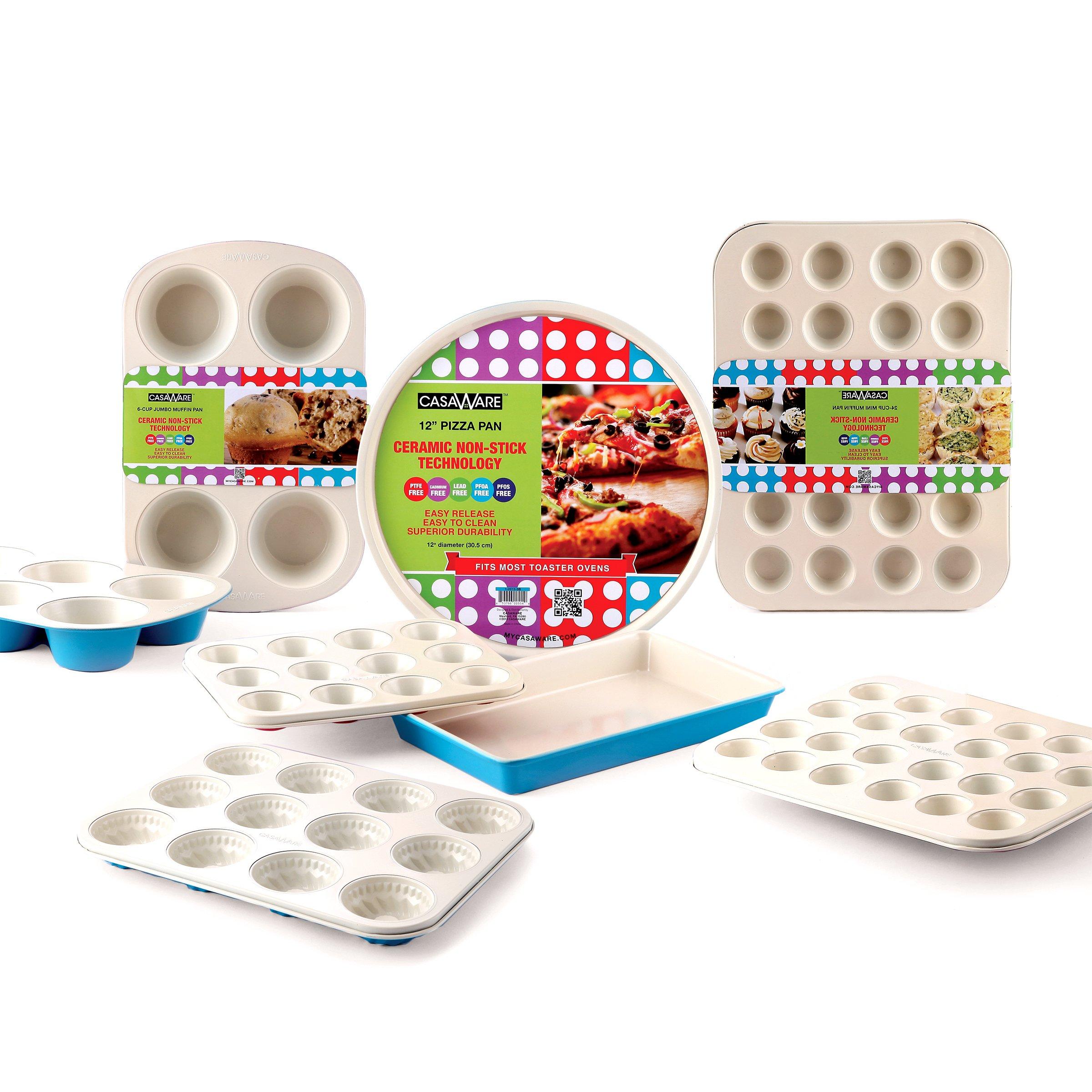 casaWare Ceramic Coated Non-Stick 12-Inch Pizza Pan (Cream/Blue) by casaWare (Image #4)