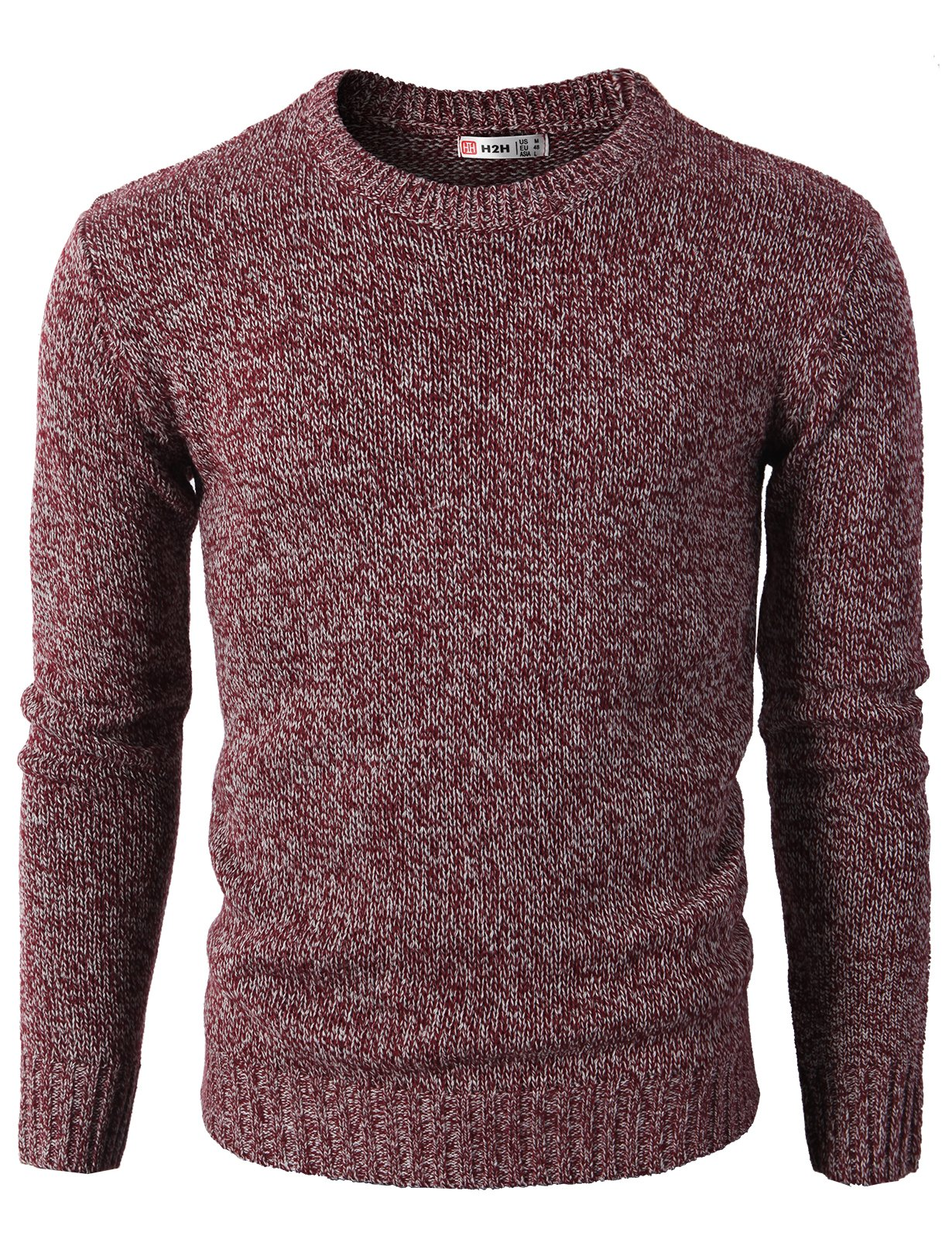 H2H Mens Slim Fit Basic Ribbed Thermal Turtleneck Pullover Sweaters Maroon US M/Asia L (KMOSWL0122) by H2H (Image #2)