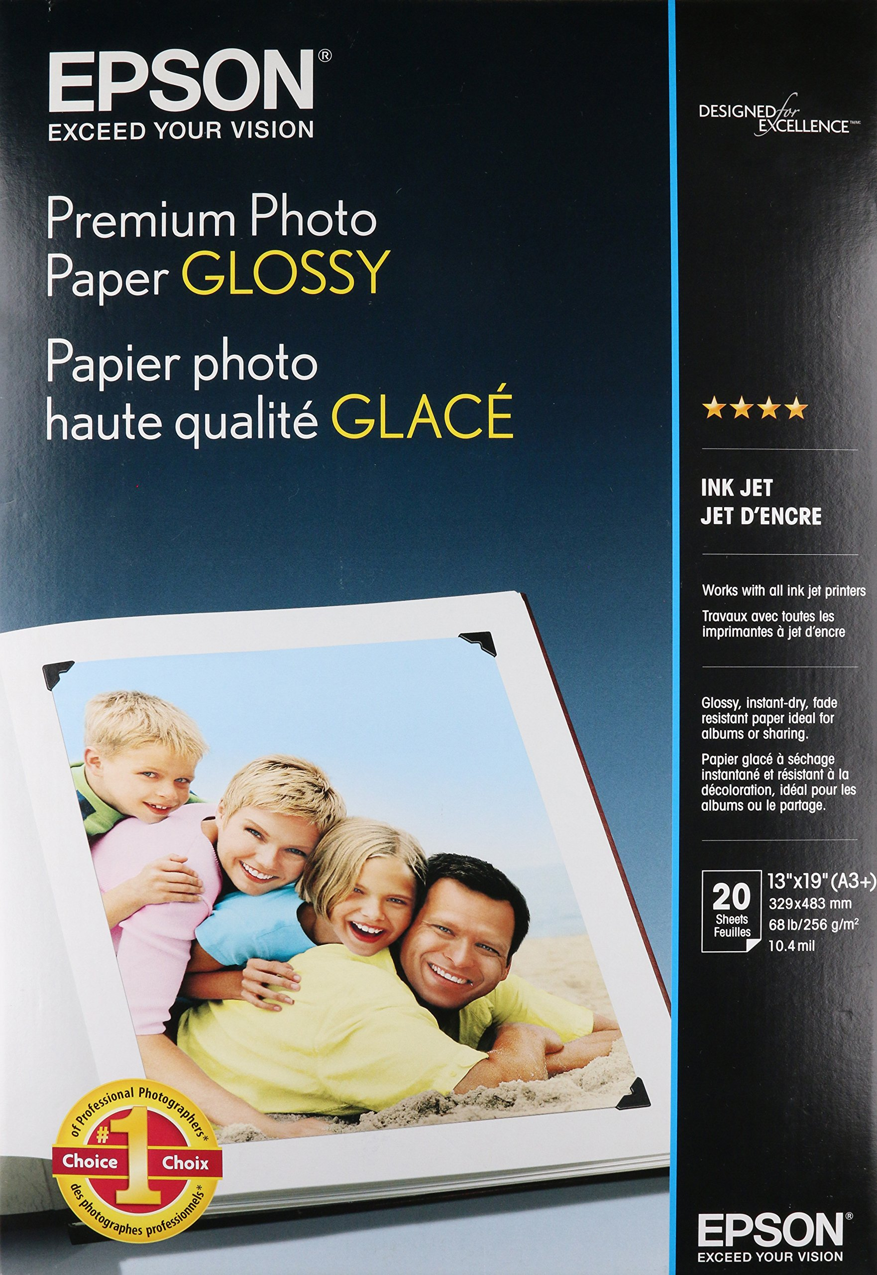 Epson Premium Photo Paper GLOSSY (13x19 Inches, 20 Sheets) (S041289)
