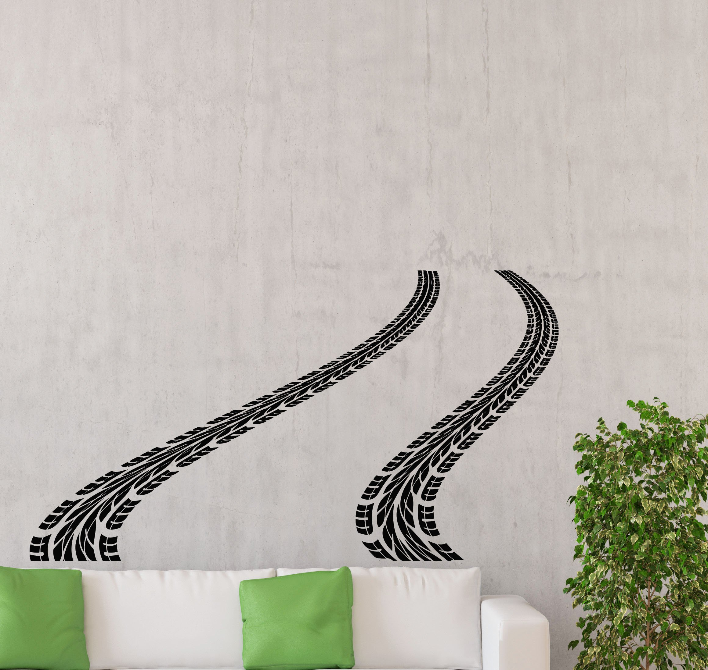 Tire Track Wall Decal Road Car Traces Rally Racing Bed Playroom Gift Vinyl Sticker Home Nursery Kids Baby Room Art Stencil Decor Mural Removable Poster 125ct by Awesome Decals