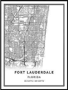 Squareious Fort Lauderdale map Poster Print   Modern Black and White Wall Art   Scandinavian Home Decor   Florida City Prints Artwork   Fine Art Posters 24x36