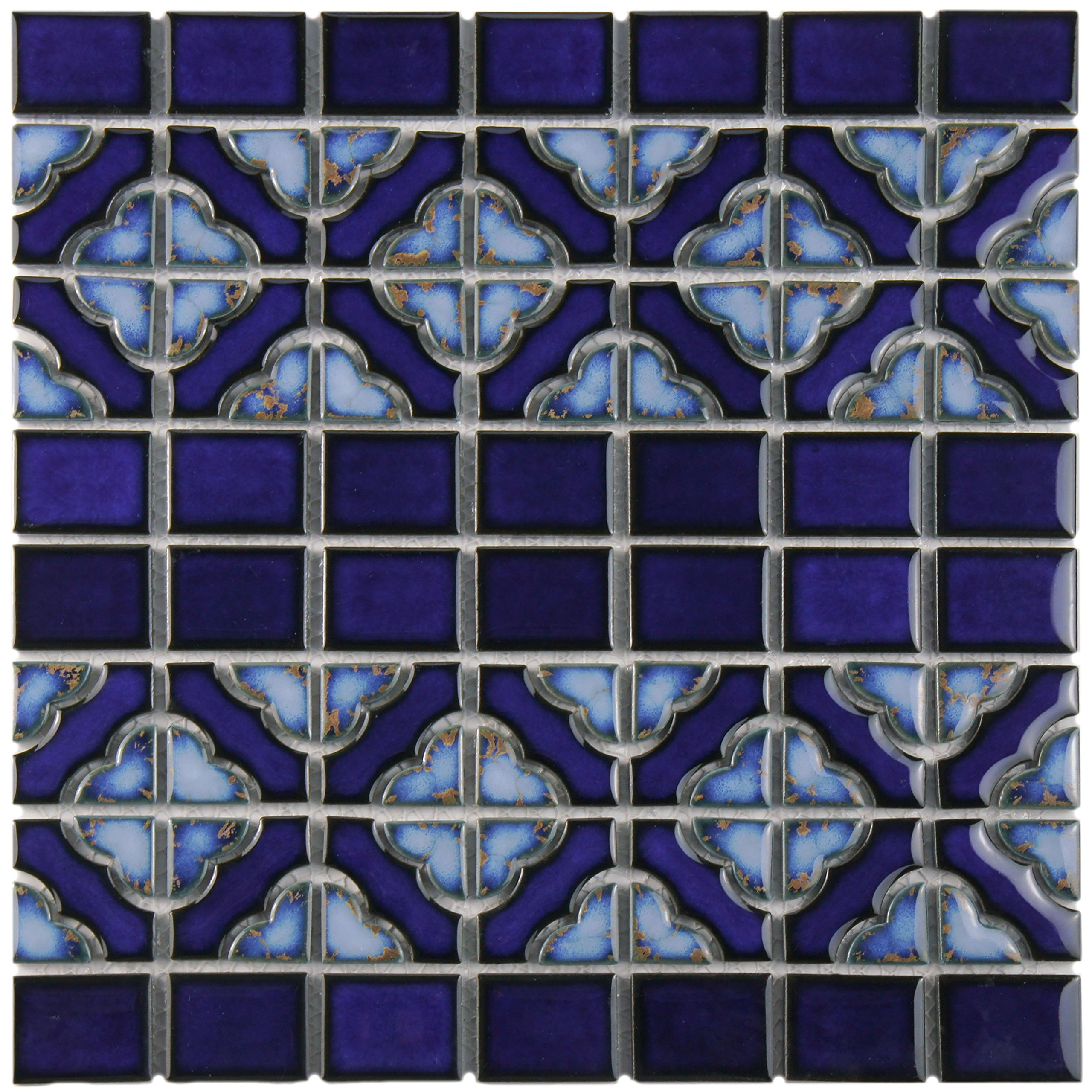 SomerTile FKOSQD24 Faro Delta Porcelain Floor and Wall Tile, 12'' x 12.5'', Cobalt Blue