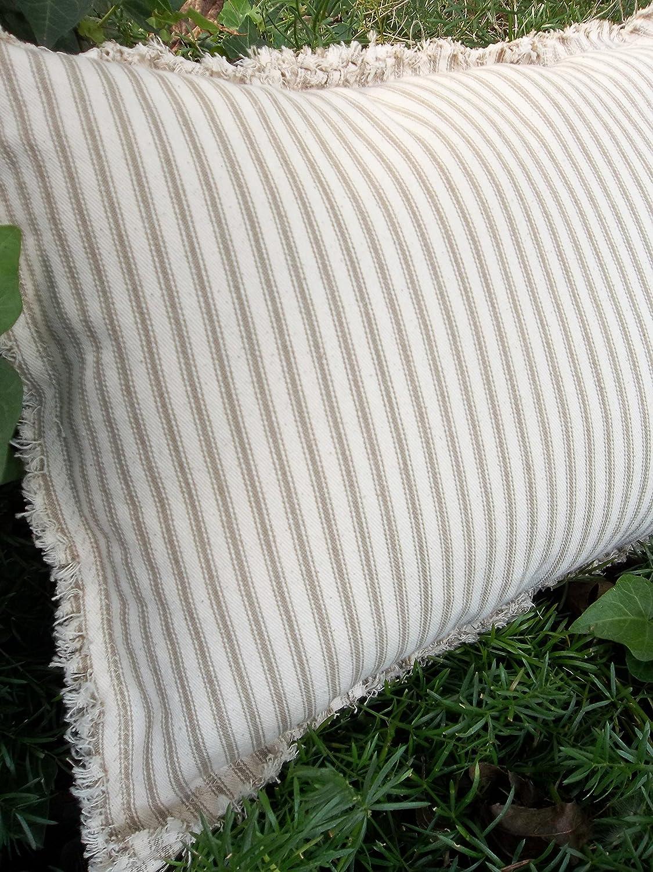 Farmhouse Pillow Ticking Pillow in Custom Sizes Fabrics Torn Edge Pillow Striped Pillow