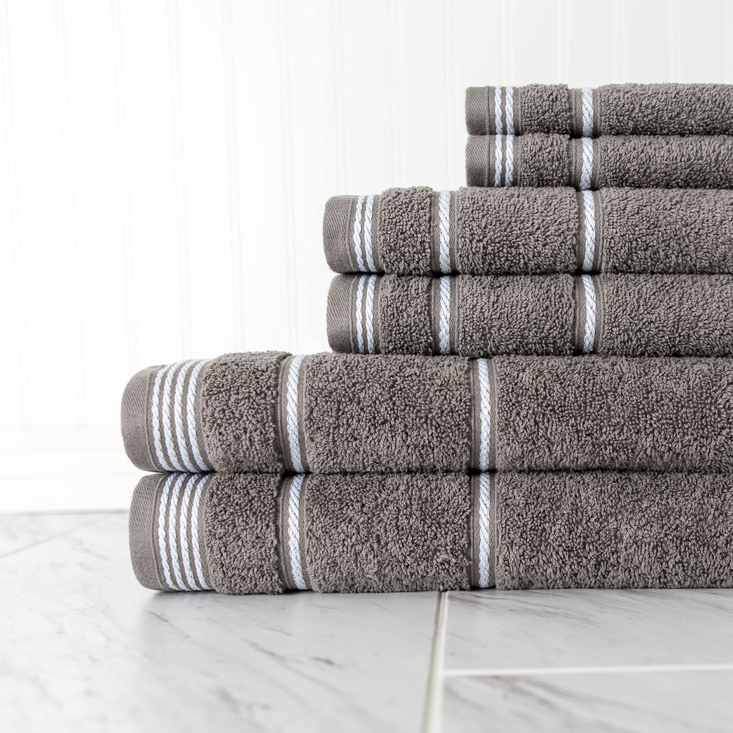 N2 6 Piece Large Grey Rope Trim Bath Towel Set, Smokey Gray Stripe Pattern Solid Color Woven Towels Tailored Nautical Luxurious Hotel Style Bathroom Sheets Soft Decorative Bright Vibrant, Cotton