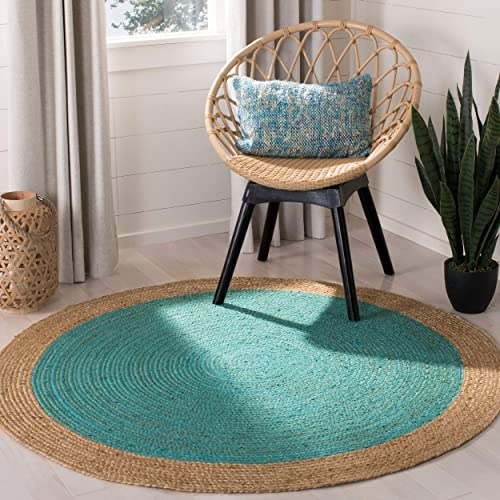 Safavieh Natural Fiber Collection NF801E Hand-Woven Teal and Natural Jute Round Area Rug 4'