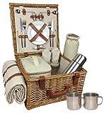 Deluxe Weiden Picknickkorb Für 2 Personen Mit Kühltasche Und Zubehör - Eine Charmante Geschenkidee Zum Geburtstag, Hochzeit, Ruhestand, Jubiläum