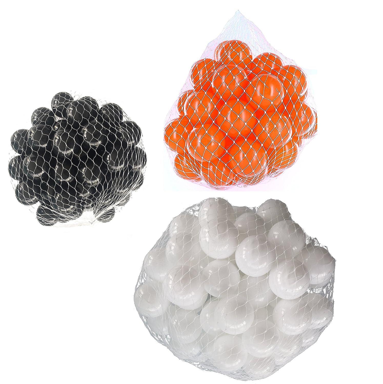 900 Bälle für Bällebad gemischt mix mit weiß, Orange und schwarz