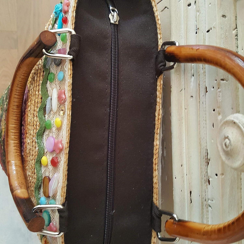 Frau handgemalt Stroh Decoupage Tasche