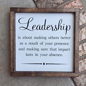 N/ A Leadership Quote Wood Sign Office Decor Retirement Gift Boss Gift