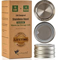 """EcoPeaceful Stackable Lids for Mason Jar Wide Mouth (12, Wide Mouth - 3 3⁄8"""" (87 mm) outer diameter)"""