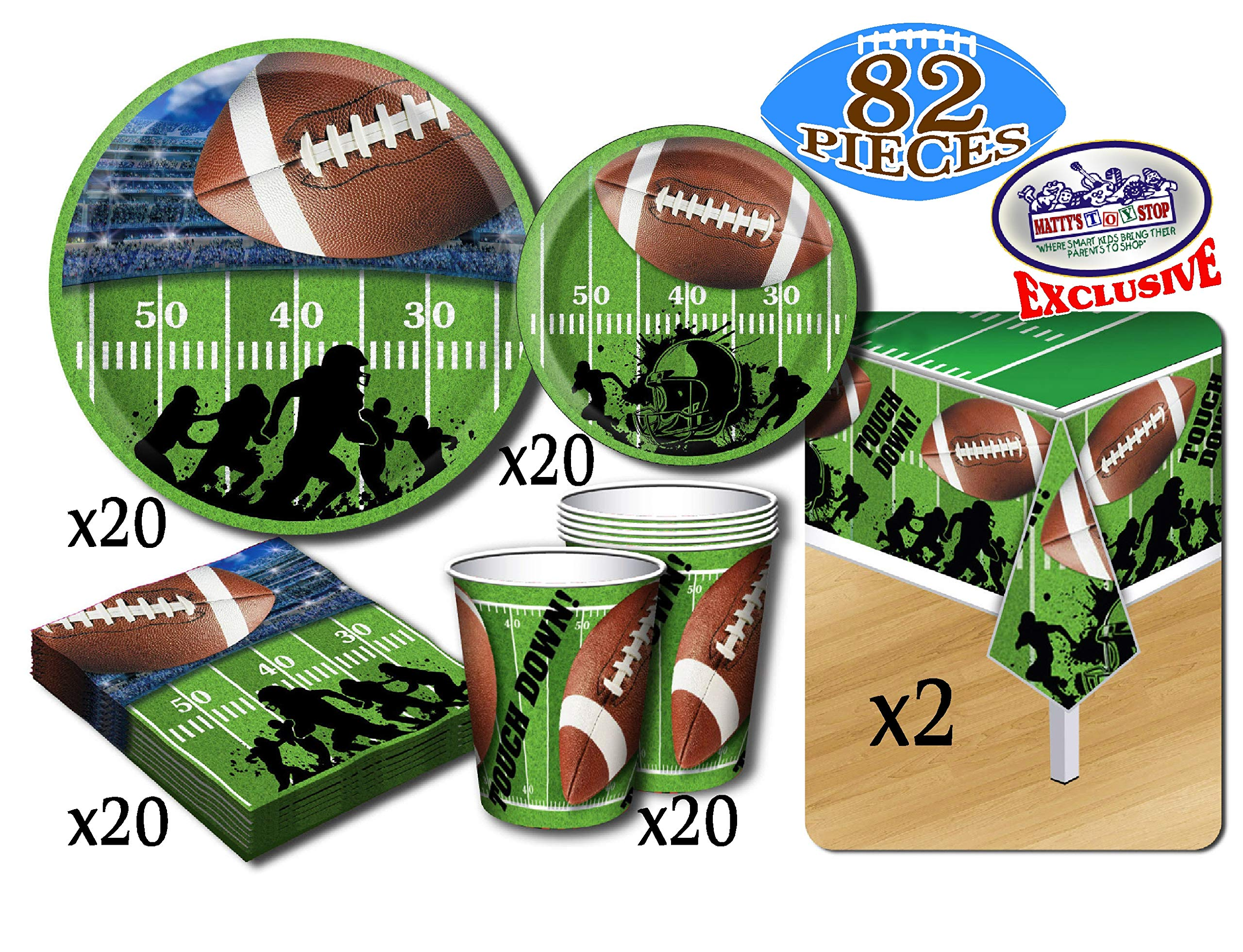 Deluxe Football Theme Party Supplies Pack for 20 People, Includes 20 Large Plates, 20 Small Plates, 20 Napkins, 20 Cups & 2 Table Covers - Perfect for Gameday or Birthday (82 Pieces Total) by Matty's Toy Stop