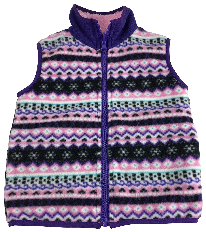 NIce Little Girls and Baby Sherpa Lined Fairisle Fleece Outerwear Winter Vest 6000-G