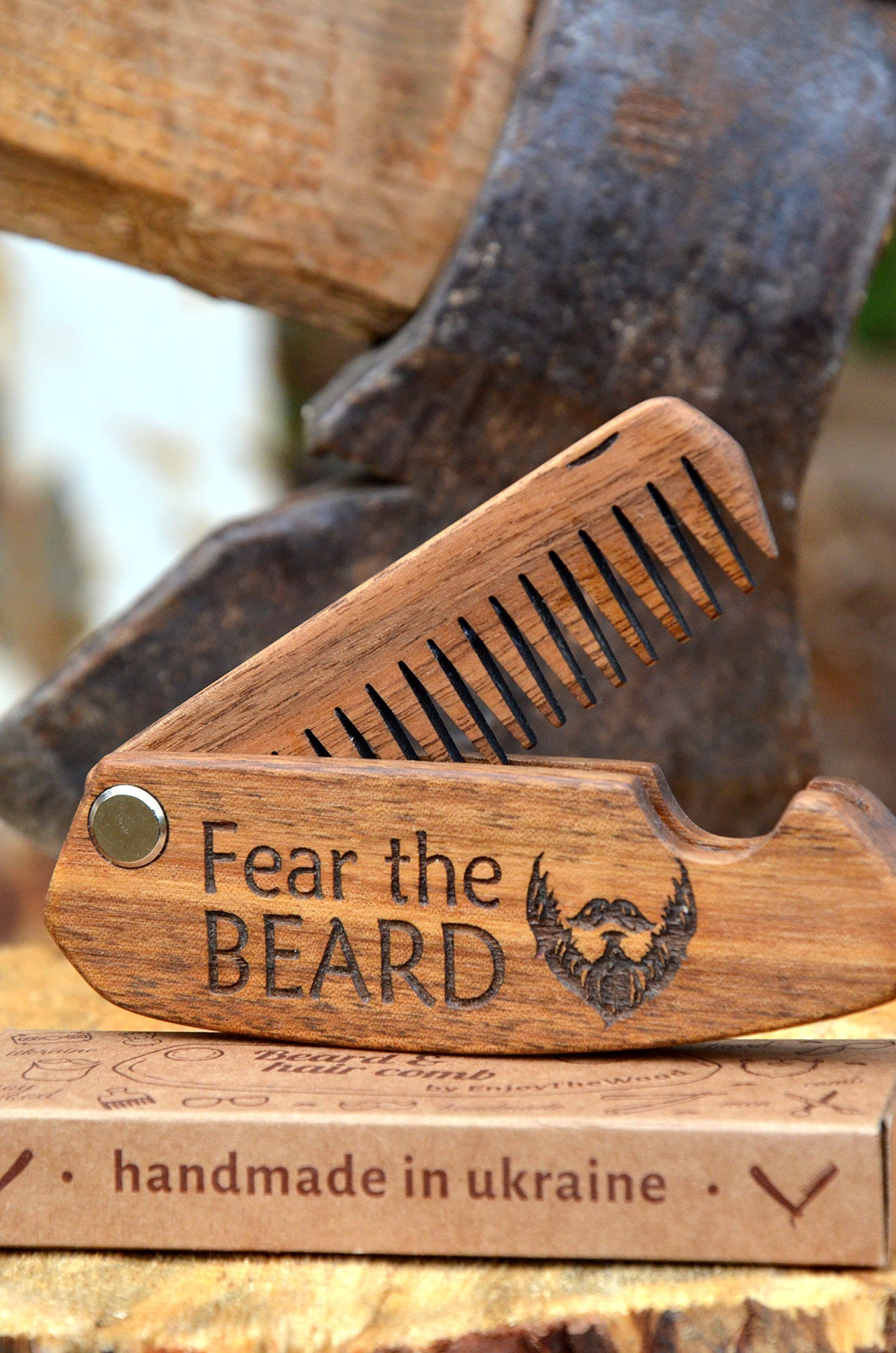 Beard Comb Wood Folding Pocket-size Mustache Hair Birthday Anniversary covered with oil-wax