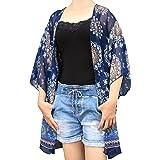 GAXmi Mujer Verano Estilo kimono Impreso Gasa Playa Ropa de baño Bikini Paréos Azul o7VA7