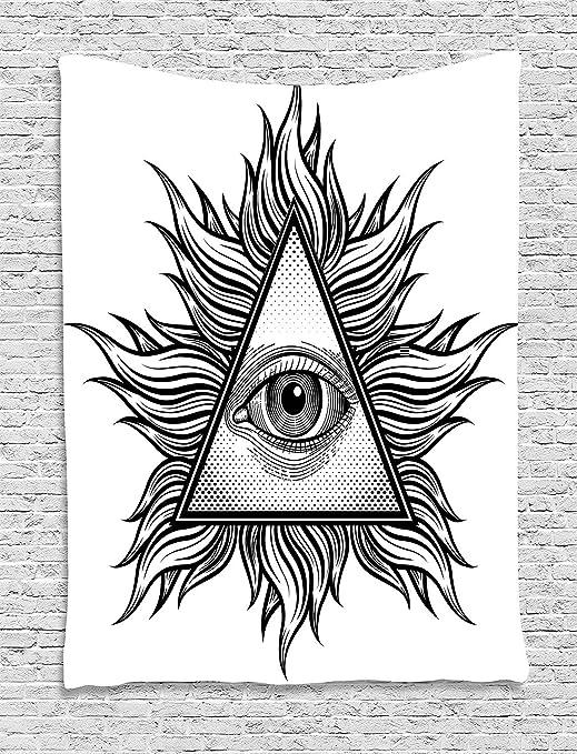 Jjonepin Tapiz de ojos, forma de triángulo con figuras onduladas y ...