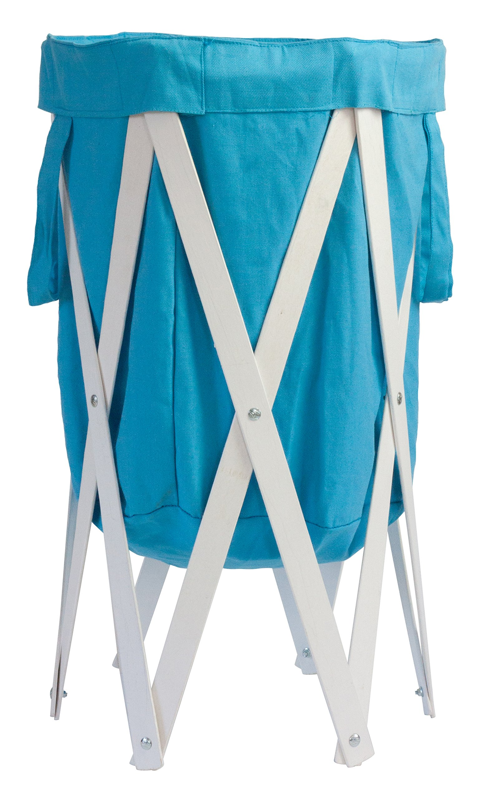 MAX + RAE Collapsible Laundry Hamper with White Wood Frame | Dirty Clothes Storage | Removable Fabric Bag with Handles, Easy to Carry and Clean | Nursery, Kids Bedroom, Bathroom (Baby Blue)