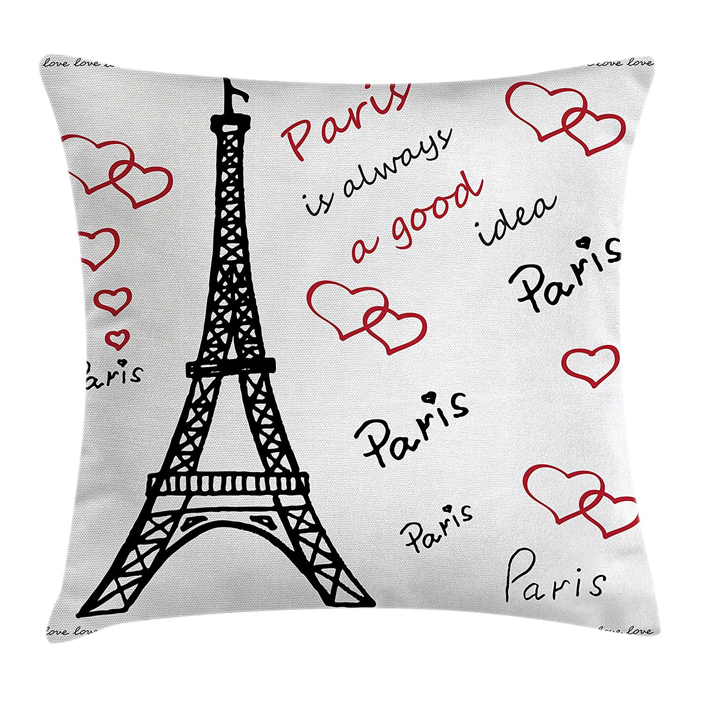 Bestバッグエッフェル塔装飾スロー枕クッションカバー、パリEiffelはAlways A Good Idea観光場所Love Valentine 's、装飾正方形アクセント枕ケース、18 x 18インチ、ブラックとレッド   B07DMHQ11L