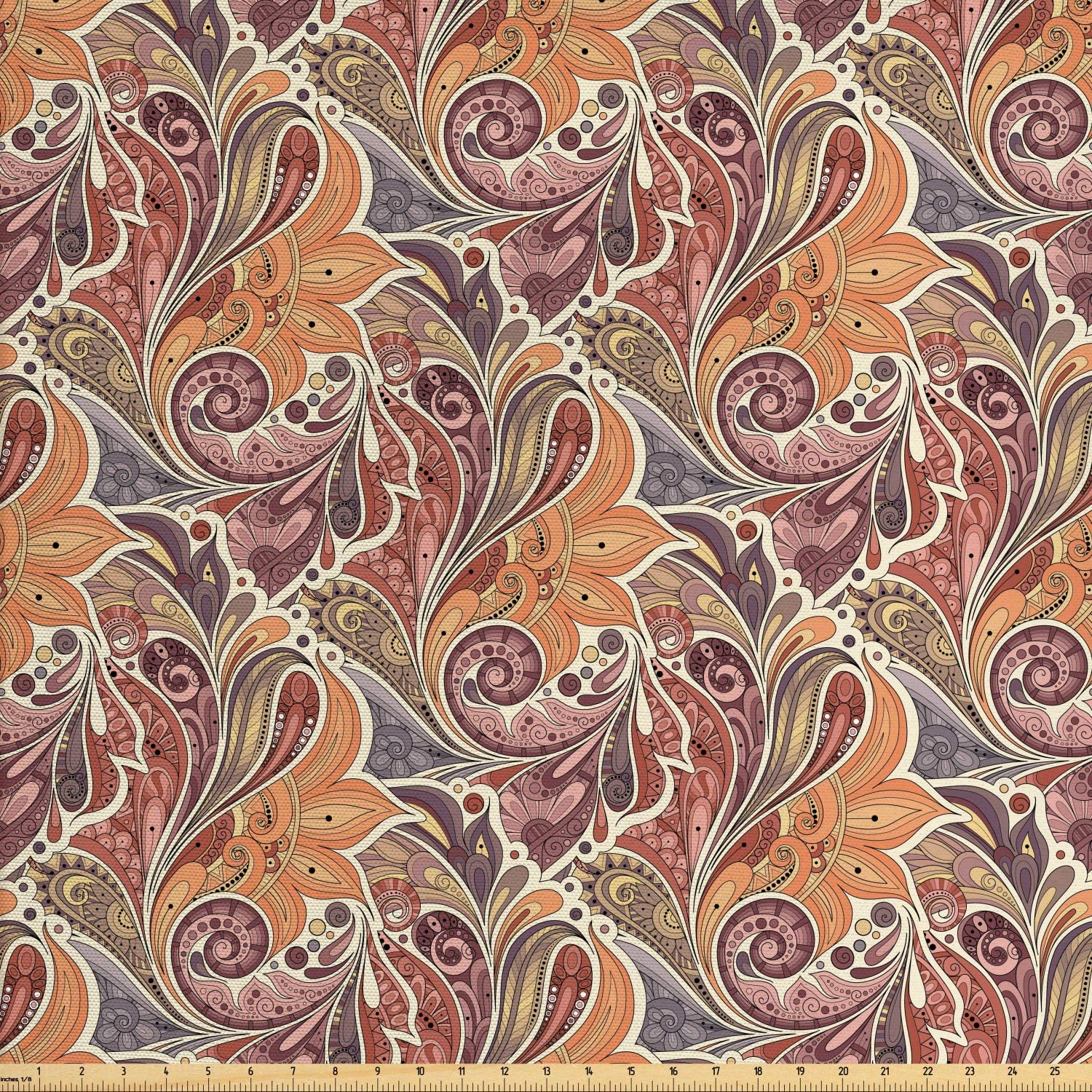 Ambesonne Floral Fabric by The Yard, Traditional Paisley Leaf Pattern with Persian Details Colorful Boho Design, Decorative Fabric for Upholstery and Home Accents, 1 Yard, Orange Mauve