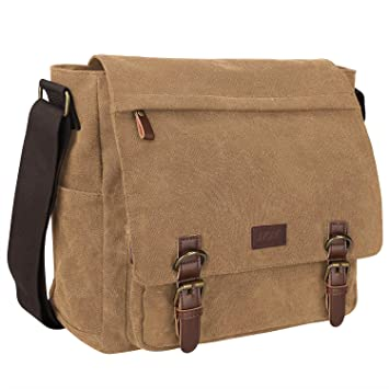 814a1a45dc Amazon.com  S-ZONE Vintage Canvas Laptop Messenger Bag School Shoulder Bag  for 13.3-15inch Laptop Business Briefcase Coffee  Clothing