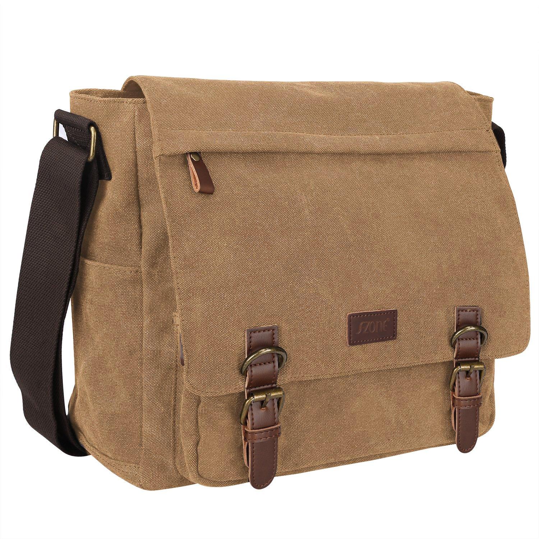 S-ZONE Vintage Canvas Laptop Messenger Bag School Shoulder Bag for 13.3-15inch Laptop Business Briefcase Coffee