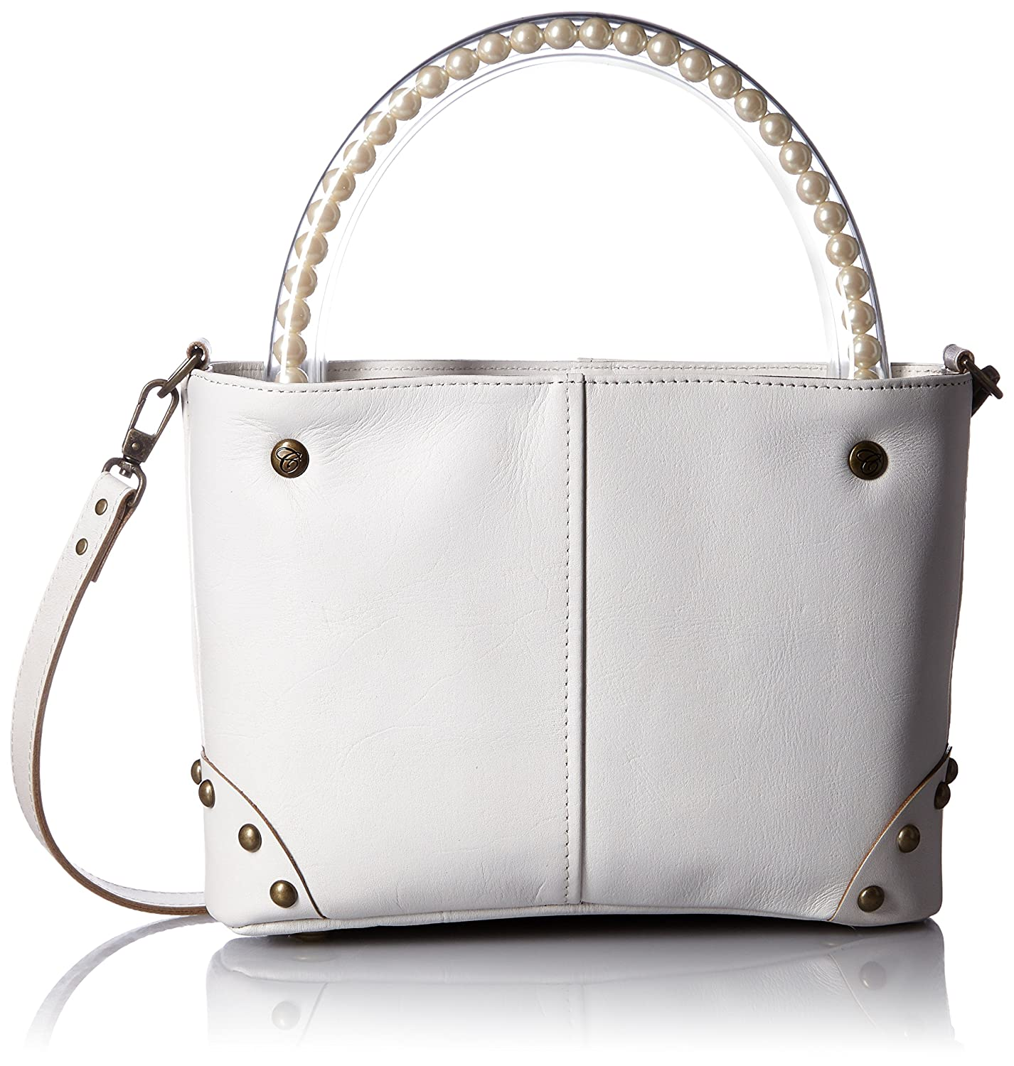 [カルネ] carnet All Leather Pearl Handle Tote MINI Shoulder B01BEKBYLSホワイト