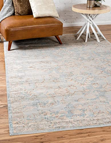 Unique Loom Paris Collection Pastel Tones Traditional Distressed Light Blue Area Rug 12 2 x 16 0