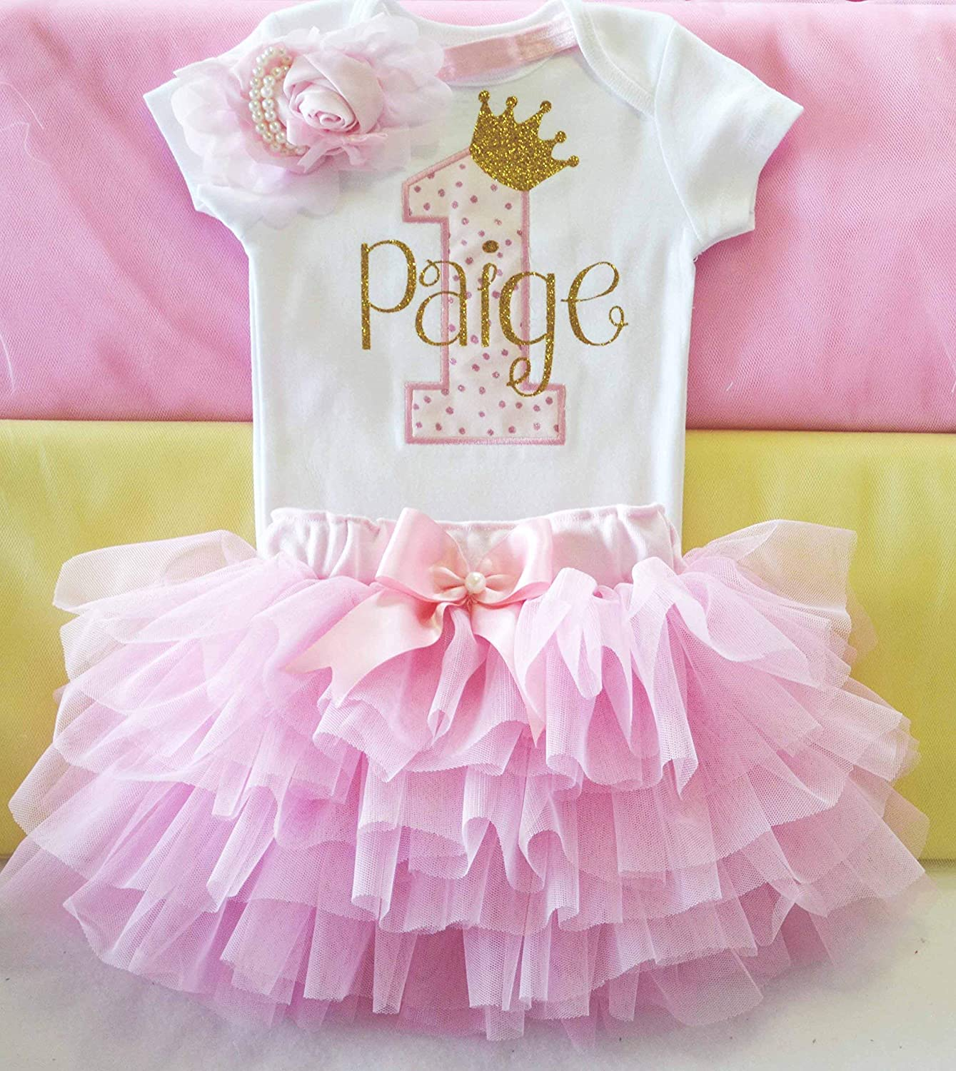 Personalised First 1st Birthday Tutu Baby Girls Pink Gold Cake Smash Outfit