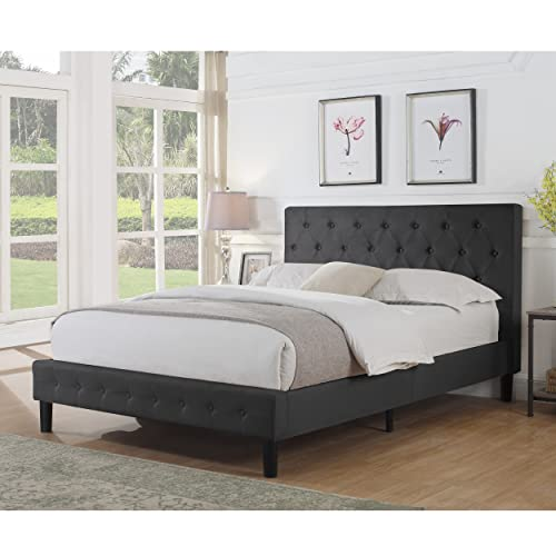 Rosevera Alfonso Diamond Upholstered Platform Bed,, King, CHARCOAL